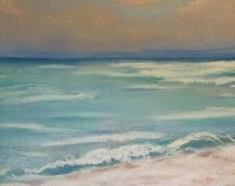 Beach Blue Ocean Fine Art Seascape Sunset Soft Pastel Art Print