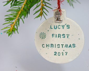 Baby's first Christmas ornament Personalized Christmas ornament gift boxed