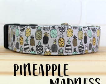 Dog Collar in Geometric Pineapple for Girl/Boy Dog. Can be made in a Buckle or Martingale Collar. PLEASE READ Item Details before ordering