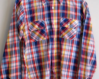 Vintage PUT-ON SHOP Red/Blue/Yellow Madras Style Plaid Shirt Size S Small 14/15