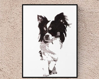 Chihuahua - illustration by pet portrait artist - dog portrait - pet lover gift - custom pet portraits - personalized pet - pet portrait
