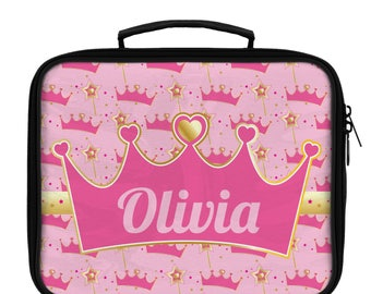 Princess Lunch Bag, Personalized Lunch Bag, Princess Crown Lunch Box, Custom Princess Lunch Bag