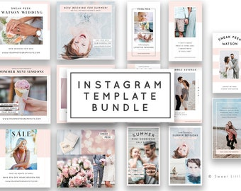 Instagram Templates for Photographers - Instagram Templates - Social Media Templates - Template Bundle