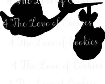 Stork With Baby Silk Screen Stencil, Cookie Stencils, Mesh Stencils, Silk  Screen Stencil