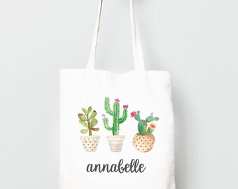 Cactus Tote Bag, Personalized Bohemian Bag