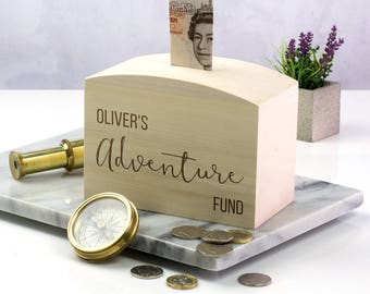 Wooden Money Box - Adventure Fund - Personalised Money Box - Honeymoon Gifts - Gift For Couple - Money Bank - Money Box - LC176