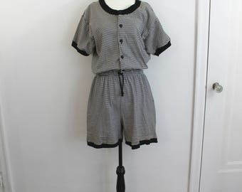 Vintage 90s Liz Clairborne Sport black and white stripe playsuit romper, large