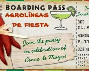 Fiesta Cinco de Mayo Boarding Pass Invitation for Birthday, Bon Voyage, Wedding (DIY Printable Template Instant Download)