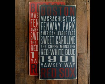 Boston Red Sox Distressed Wood Sign--Great Father's Day Gift!