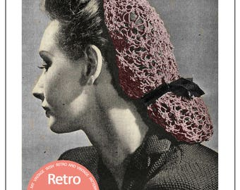 1940s Snood Vintage Knitting Pattern - PDF  Instant Download