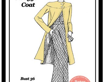 1930s Swagger Coat Sewing Pattern -  PDF Dress Sewing Pattern - PDF  Instant Download
