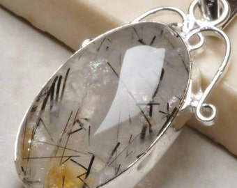 2 inch long    Natural Black Rutilated Quartz   Gemstone Silver Pendant