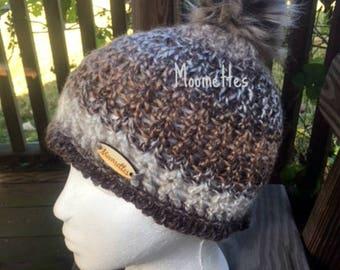 Handmade Faux Fur Pom Pom Beanie Black Brown Gray Beige Nordic Hat Wood Button Crochet