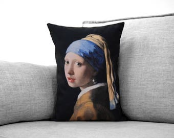"girl with a pearl earring painting - 14"" x 20"" velveteen pillow case - johannes vermeer, 1902"