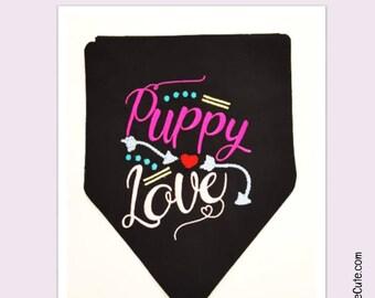 """Valentines Day Dog Bandana """"Puppy Love"""" Embroidered on Large Bandana"""