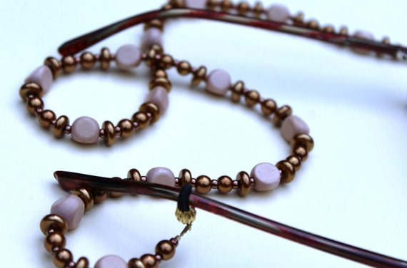 Copper Pearl Beaded Eyeglass Chain