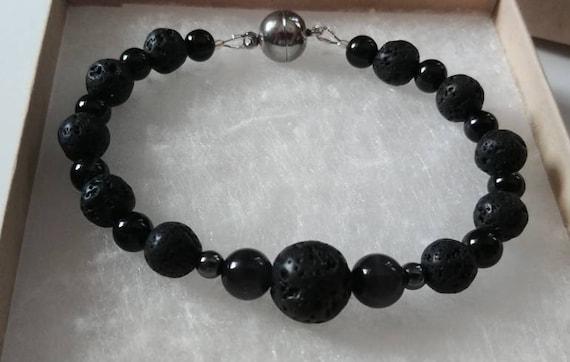 Men's Lava Bead Bracelet, Black Lava Bead Jewelry with Magnetic Clasp