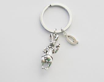 White Rabbit Keychain, Alice Keychain, Wonderland Keychain, I'm Late Keychain, White Rabbit accessories, Initial Keyring