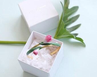 Tulip Bangle , Pink Tulip , Flower Bangle GOODAFTERNINE