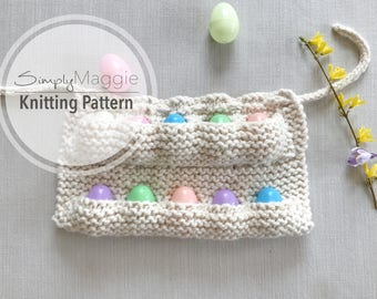 Knitting Pattern // Child's Knit Egg Collecting Apron // Egg Apron //  Knitting Pattern // Beginner's Pattern // Simply Maggie