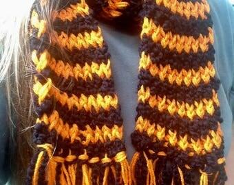 Black and Orange Handknitted scarf, Halloween Scarf, Fall Scarf, Winter Scarf, Homemade Halloween Scarf