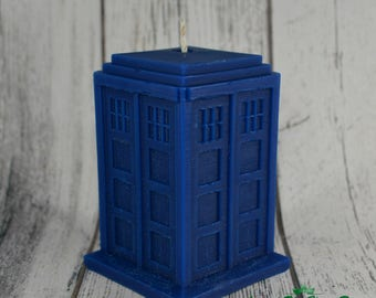 Police Box Shaped Scented or Unscented All Natural Vegan Soy Candle