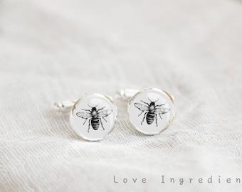 Bee cufflinks silver cufflinks boyfriend cufflinks groom cufflinks father cufflinks gift for him wedding groomsmen gift CL036
