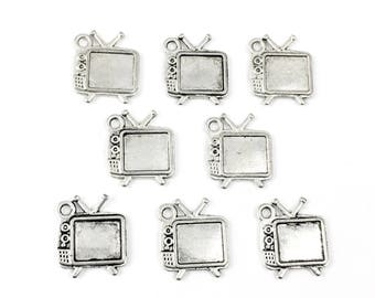 8 retro television charms antique silver,13.5mm # CH 054