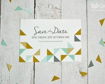 Wedding stationery - x25 save the date wedding invitation cards, modern geometric style design (A6 card)
