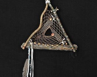 Dreamcatcher #1306- Triangle w/Driftwood-  Native American Tribal Art