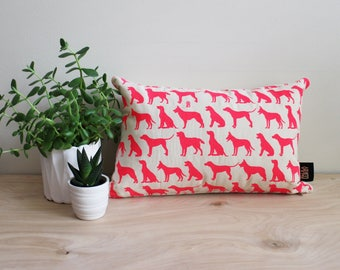 Pink Pop Dogs Hand Printed Eco Ink on Natural Cotton Canvas Hand Screen Printed 12x18 Rectangle Pillow