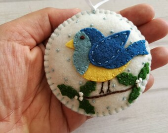 Felt Blue bird ornament, Christmas bird ornament, Felt bird ornament, Christmas decoration, Christmas decor, Woodland Christmas, Wool felt