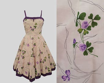 1950s Clover Print Pat Premo Dress L