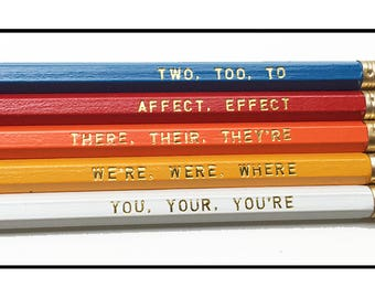 Set of 5 Assorted Grammar Pencils