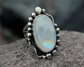 Moonstone Ring, Gemstone Statement Ring, Ornate, Freeform, Boho Chic, Gypsy Style, Moonstone Jewelry, Gift for Her, Handmade Silver Ring