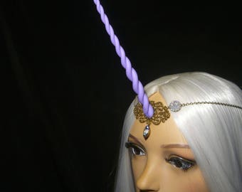 LilacSpell Unicorn - Tiara with handsculpted lilac-lavender purple Horn