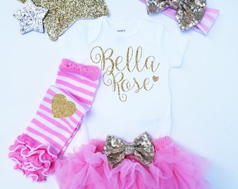 Personalized Monogrammed Coming home Set Gold Glitter with Heart Gold headband and  Legwarmer Set Bloomers and Bodysuit