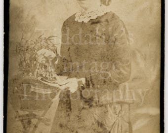 CDV Carte de Visite Photo - Victorian Young Pretty Girl Holding a Basket of Flowers - W H Prestwich of London England - Antique Photograph