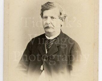 CDV Carte de Visite Photo Victorian Man with Mustache Portrait by J Craddock of Simla India