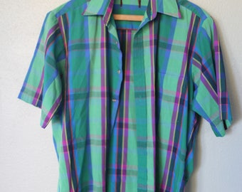 vintage green plaid button up shirt mens *