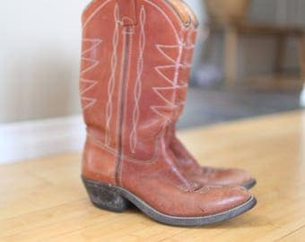 vintage  brown leather topstitch cowboy boots womens 6