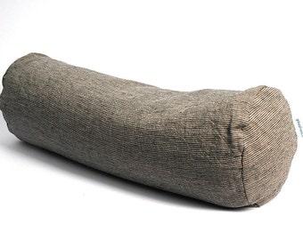 Grey linen flax bolster pillow Roll pillow Buckwheat pillow Linen pillow Gray striped linen flax DIA6,5'' x L20''/DIA16cm X L50cm pillow