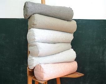 Grey striped linen flax bolster pillow Roll pillow Buckwheat pillow Linen pillow Gray linen flax DIA6,5'' x L20''/DIA16cm XL50cm Neck pillow