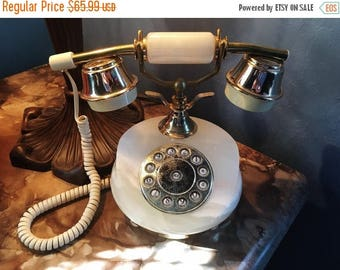 ON SALE - Vintage White Marble Onyx Stone Gold Tone Land Line Push Button Telephone Circa 1980's