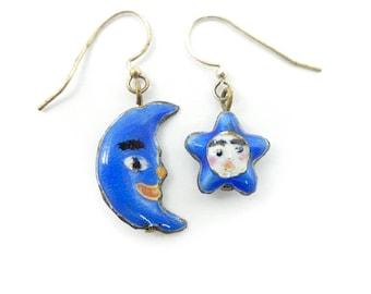 Vintage Moon and Star Earrings, Blue Enamel, Hooks