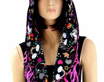 Reversible UV Glow Pink Lightning Festival Infinity Hood with Unicorns and Rainbows Hood Lining & Cat Ears Black Mystique/Pink SJ - 154578