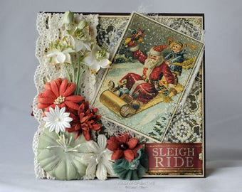Sleigh Ride, Santa on Sleigh, Vintage Christmas, Christmas Card, Greeting Card, Handmade Card, Layered Card