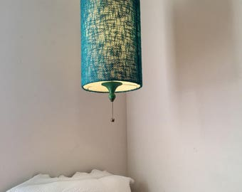 Mid Century Hanging Pendant Light with Pull Chain, Textured Turquoise Fabric Light Cover/Shade, Drum Pendant Light, Swag Chain Light, 1950s