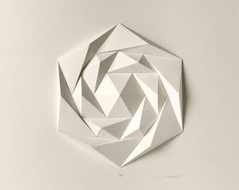 Icosa3M3 White Wall Art Folded Paper Crystal Mosaic Relief Modern Geometric Abstract Sculpture Created by Kubo Novak