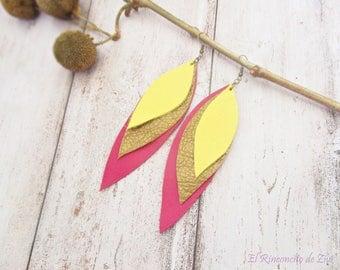 Long Layered Leather Earrings, Yellow Fuchsia Gold Earring, Triple Layer, Leather Jewelry, American Native, Tribal Boho Earrings